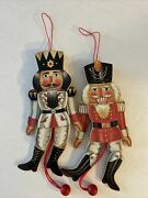 Vintage Nutcracker Wooden Christmas Ornaments Pull String 7 Two Taiwan