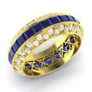 3.70 Ct Natural Sapphire Engagement Ring 14k Yellow Gold Diamond Band Size 6 7 8