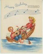 Vintage Picnic Lunch Pink Cake Chicken Cheese Guitar Row Boat Oar Card Art Print