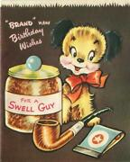 1 Vintage Embossed Puppy Dog Pipe Tobacco Jar Matches Tobacciana Greeting Card