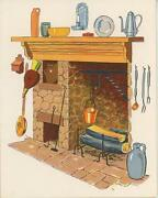 Vintage Fireplace Kettle Cooking Hearth Coffee Pot Print Green House Garden Card