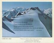 Vintage Christmas Blue Snow Mountains Skiing Photo H. Peter Wingle Greeting Card