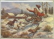Vintage Christmas Cowboy Riding Red Sled Horse Cabin Ranch Dog Snow Harman Carde