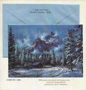 Vintage Christmas Snow Mountains Cabin Evergreen Pine Trees Blue Landscape Card