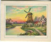 Vintage Ethereal Sunset Spring Trees Flowers Garden Breeze Windmill Card Print