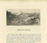 Antique Vision Allegorical Man Drowning Girl Knitting Ocean Waves Azores Print