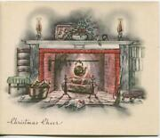 Vintage Christmas Hearth Fireplace Teapot Candles Cat Sleeping Art Greeting Card