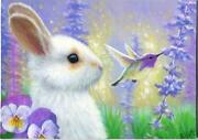 Aceo White Bunny Lavender Flowers Hummingbird Pansy Purple Garden Art Painting