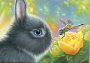 Aceo Miniature Gray Lop Bunny Rabbit Blue Eyes Yellow Roses Dragonfly Painting