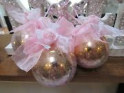 3 Shabby Chic Rose Pink Victorian Christmas Ornaments Roses Bows