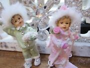 2 Shabby Chic Children Christmas Ornaments Green Pink Roses Bows Glitter