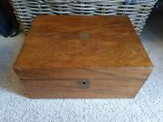 19th Cent Wooden Writing Slope Brass Inlayed - Secret Compartment No Key