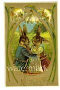 C 1909 Antique Humanized Embossed Easter Rabbits W/shiny Gold Postcard Unused