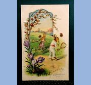 C 1909 Antique Humanized Embossed Easter Rabbits Playing Tennis Postcard Unused
