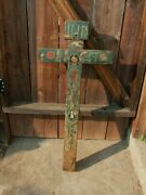 Antique Large 18thc. Spanish Colonial Hand Painted Carved Wood Cross