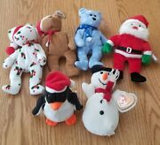 Vintage Ty Beanie Babies Christmas Holiday Lot Of 6 Beanies With Tags Nice Gift