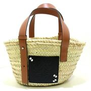 Auth Loewe Dust Bunny Basket Bag Small A223s93x09 Natural Tan Palm Leaf Womens
