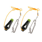 2pcs Outrigger Power Grip Snap Release Clip W/ Leader For Sea Fishing Black