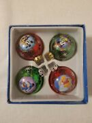 Disney Mickey And Friends Characters Round Glass Christmas Tree Ornaments Set Of 4