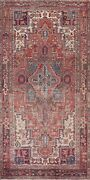 Antique Heriz Geometric Traditional Oriental Area Rug Hand-knotted Wool 5x10 Ft