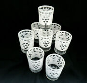 8 Bohemian Czech Crystal And White Cased Cut To Clear Double Old Fashioned Glasses