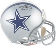 Emmitt Smith Dallas Cowboys Signed Riddell Authentic Helmet With Hof 10 Insc