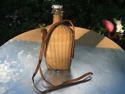 Lourdes Woven Wicker Flask Demijohn With Leather Strap French Vintage