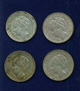 Netherlands 10 Cents Silver Coins 192619271928 1930 Group Lot Of 4