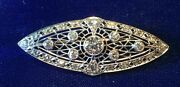 Antique Edwardian 2.25 Carats Diamond And Platinum Brooch / Pin, Approx 2 X 3/4