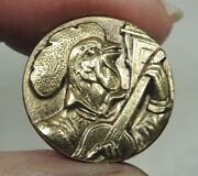 Antique Brass Picture Button Serenading Rooster Paris French Tight