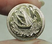 Antique Brass Picture Button Sailing Ship On Artists Palette Paris French Tight