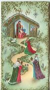 Vintage Christmas Nativity Donkey Stable Sheep Gold Silver Mid Century Art Card