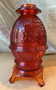 Viking Pot Belly Stove Fairy Lamp Red - Hard To Find
