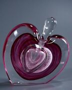 Michael Nourot Studio Art Glass Heart Perfume Bottle Unsigned Attributed To Mich
