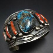 Exceptional Navajo Sterling Silver Bisbee Turquoise And Coral Cuff Bracelet 108g