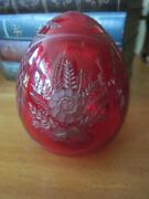 Faberge Ruby Red Etched Cut Floral Flower Glass Russian Egg Figurine