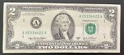 2003 A 2 Dollar Bill Fancy Serial Number 05334422 Fed Reserve Note 94.2 Cool