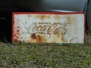 Rusty Old Coca Cola Coke 28 X 12 Soda Pop Bottle Tin Sign Cut Out Of Cooler