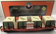 ✅lionel 6-26159, 'do It Best' Stakes Flat Car Skids Lumber Load O Gauge Freight