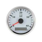 White Silver 85mm 4000rpm Tachometer Hour Meter Back Light Car Truck Boat Yacht