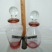 Vintage Pair Pink Elegant Blown Glass Large Cologne / Perfume Bottles And Stoppers