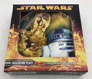 R2-d2 C3po Droids Star Wars 3 Collector Movie Mini Plate W/stand 2005 Cards Inc