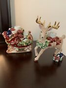 Waterford Candle Holder Reindeer Sleigh Ceramic Christmas Holiday Sleigh Ride