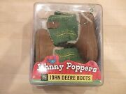 John Deere Johnny Poppers Baby Infant Boots Leather Faux Fleece Size 2