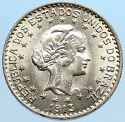 1913 Brazil Stars And Liberty Silver Genuine 1000 Reis Old Brazilian Coin I96843