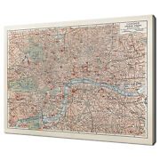 Vintage 19th Century Map Of London City Office Canvas Print Wall Art Picture