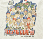 Vintage 1999 Boston Red Sox All Star Game Distressed T Shirt White Cotton Tee