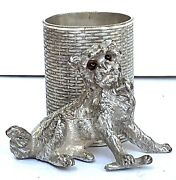 Antique-james W. Tufts -silver Plate-dog-glass Eyes-toothpick Holder-2684