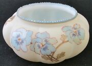 Signed Smith Brothers Art Glass Pansy Decorated Ribbed Bowl, 5 1/2 D.