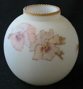 Signed Smith Brothers Art Glass Pansy Decorated Rose Bowl, 4 H. + D.